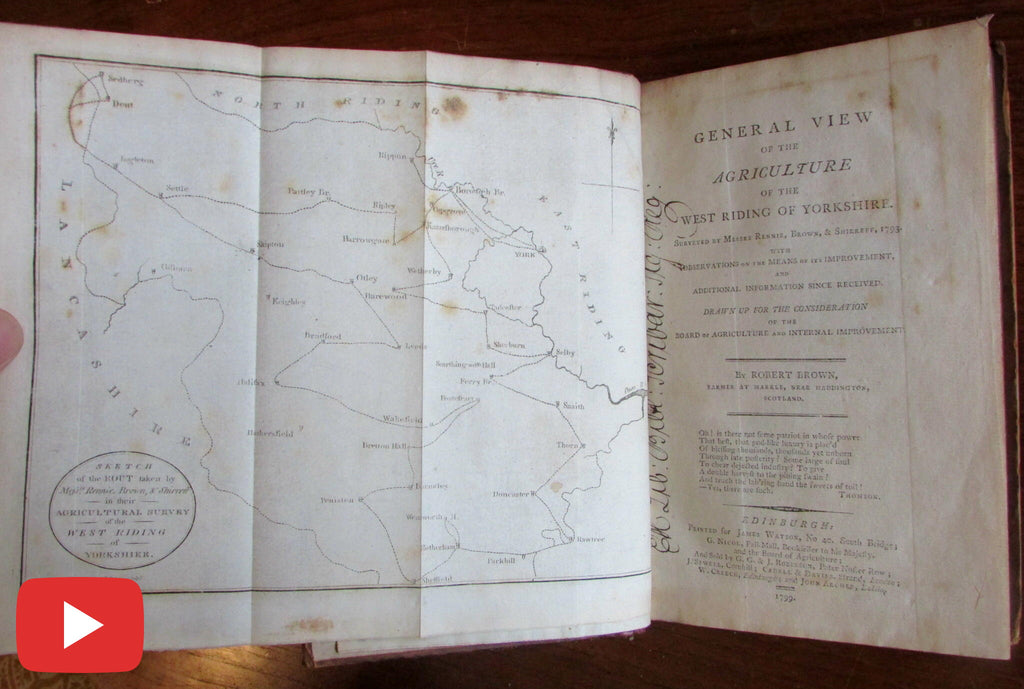 Brown Agriculture West Riding Yorkshire 1793 old book map