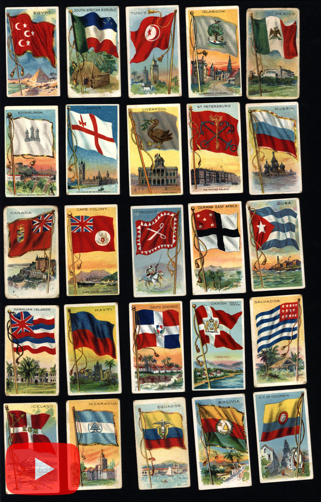 World-wide Flags 1909-11 tobacco card lot of 50 colorful Jack Rose