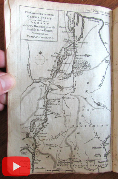 NY Canada 1758 Crowns Point Albany 2 rare maps Louisbourg harbor Cape Breton