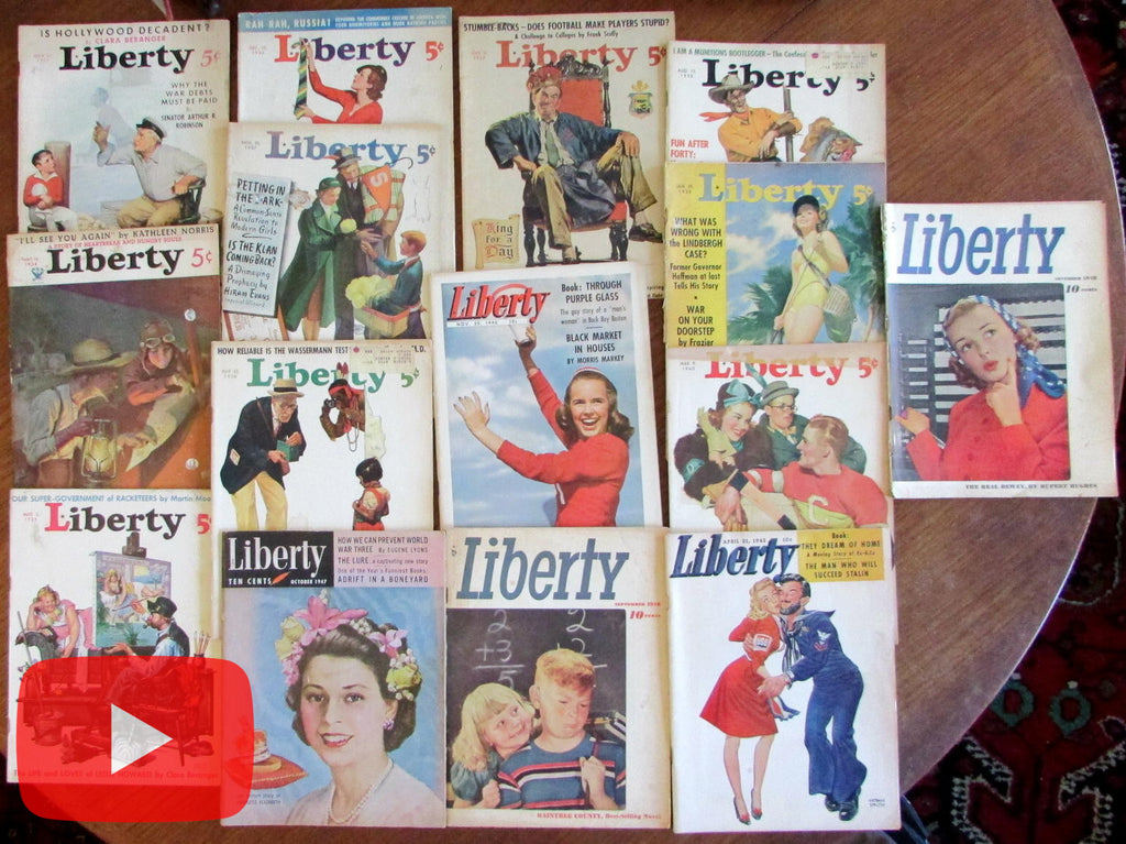 Liberty Magazine 1933-1948 lot x 15 issues great covers & ads! Coca-Cola Camel