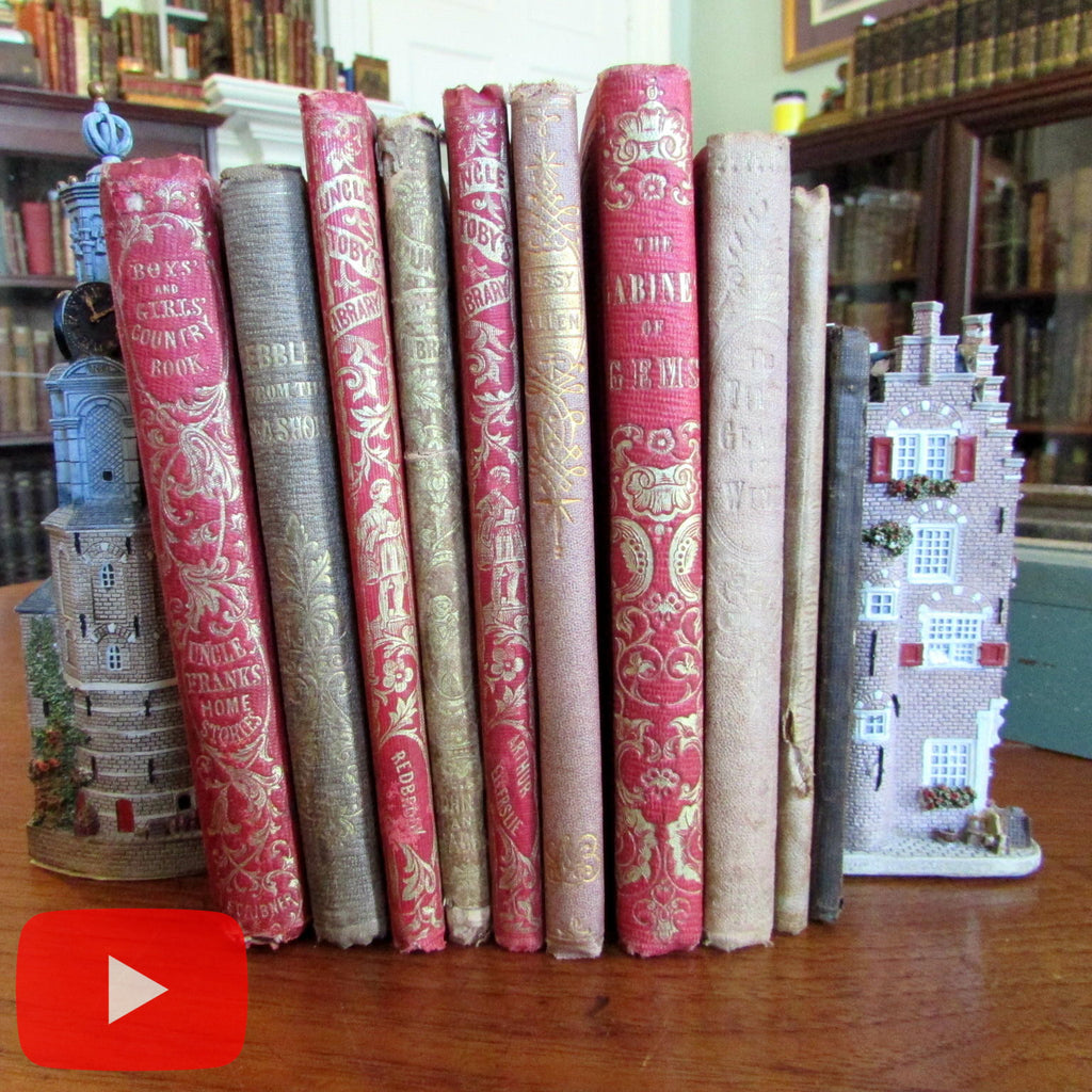 Children's books x 10 lot c.1850-70's decorative gilt cloth bindings illustrated