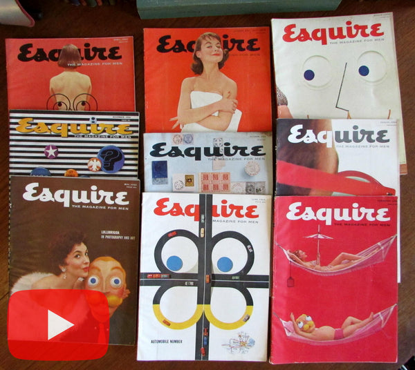 Esquire magazine lot x 9 ads Petty pin-ups color male culture excellent