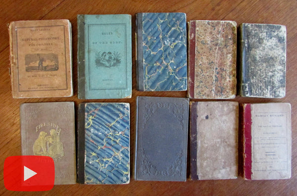 Juvenile lot x 10 scarce illustrated early 19th century 1800's books woodcuts