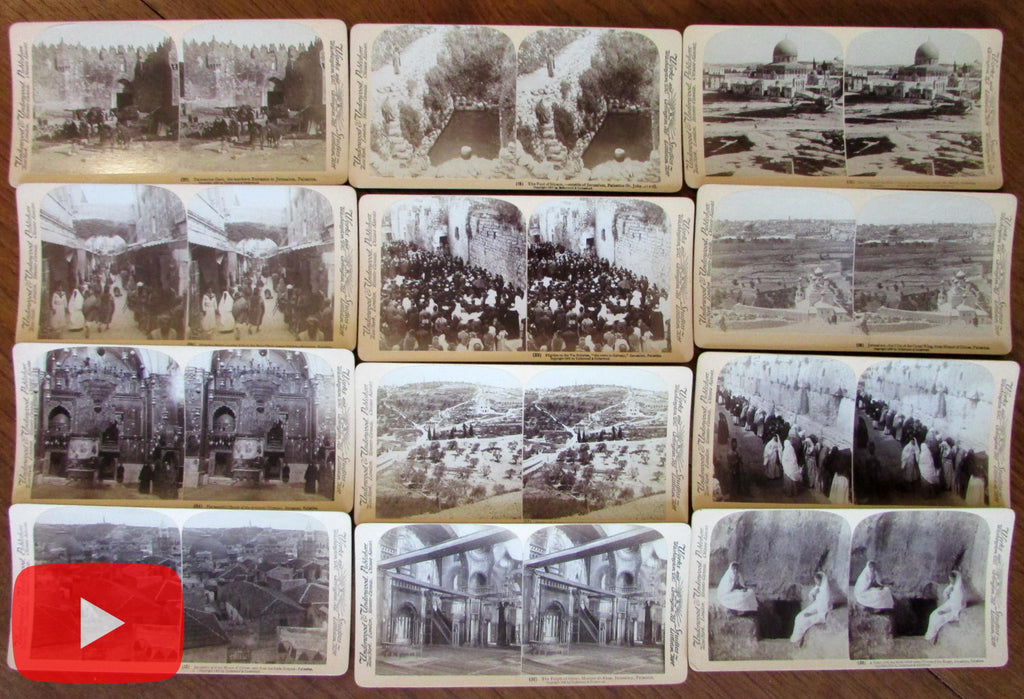 Holy Land Jerusalem stereoviews c.1900 lot x 12 Underwood photo views peoples