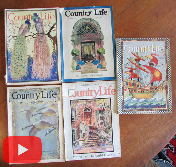 Country Life magazine 1921-1923 Lot x 5 old issues Art Deco ads graphics