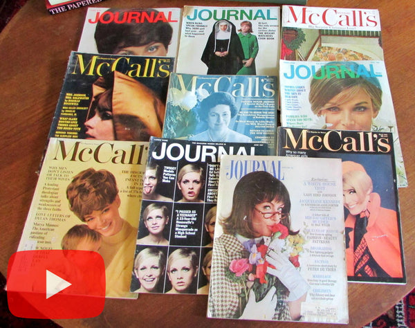 McCall's & Ladie's Home Journal 1964-1967 Lot x 10 old magazines women