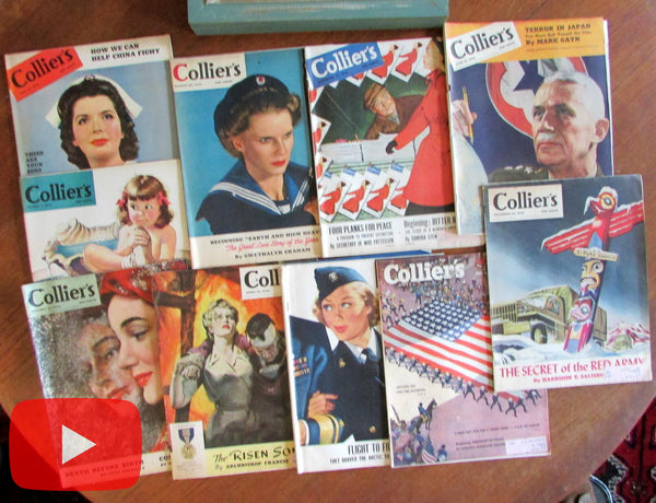 Colliers Magazine 1943-47 Lot x 10 issues WW II era great ads nurses soldiers