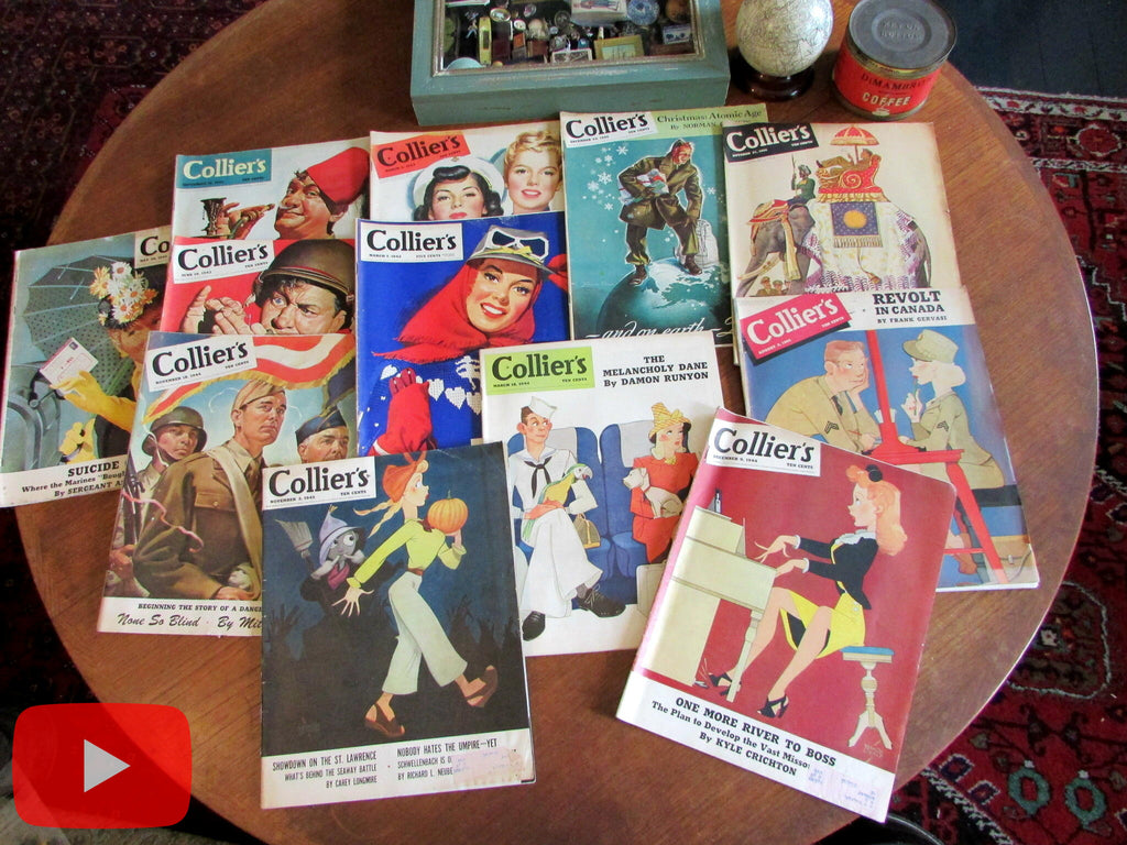 Colliers Magazine lot x 12 WW II 1942-45 era great ads cover art