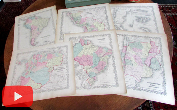 South America 1855 maps Colton Lot x 6 lovely large Chile Brazil Argentina