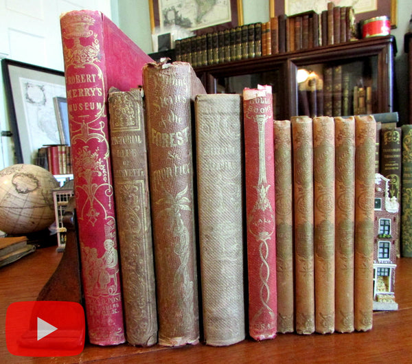 Children's Books 19th century collection x 10 illustrated gilt cloth Indians Parley