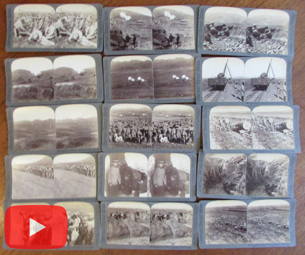 Russo-Japanese War 1905 stereocard lot x 15 real photo Russia Port Arthur