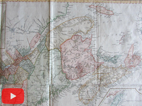 British Possessions North America Canada 1848 rare large map w/ city plans