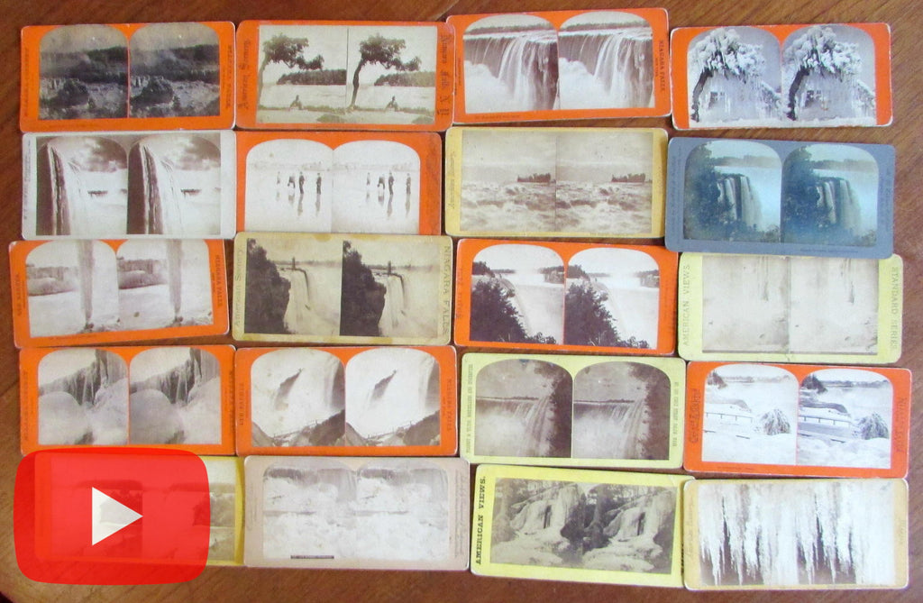 Niagara Falls NY stereoview lot x 20 old cards 19th century various issuers