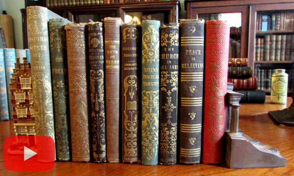 Old book collection 1840-50's Lot of 10 fine gilt decorative books fine condition