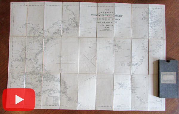 Atlantic Ocean Steam packet communication 1857-60 Wyld linen boxed map