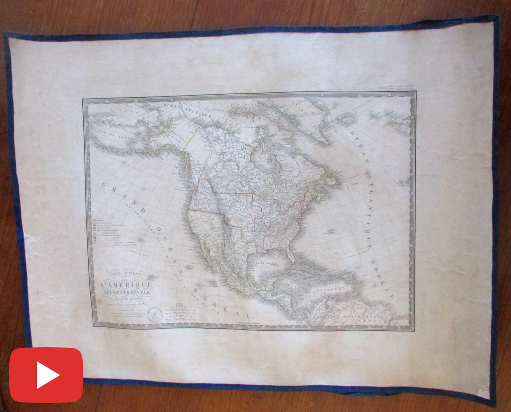 North America United States 1828 Brue linen backed map Territorial scarce