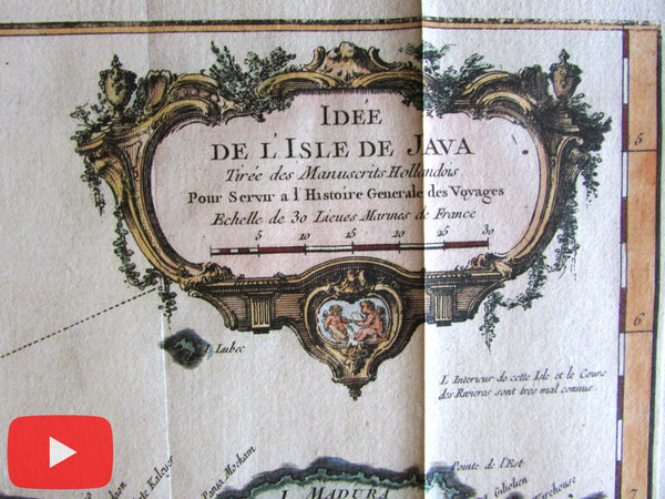 Java island 1750 Indonesia island J.N. Bellin lovely hand color old map