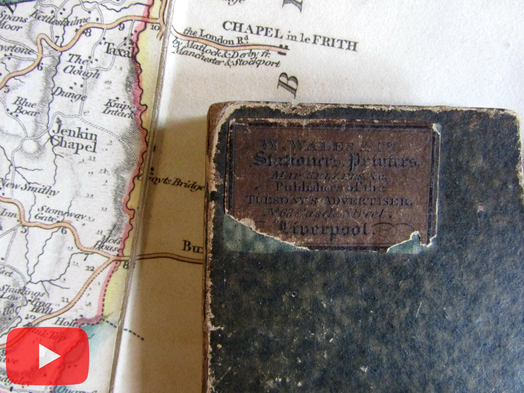 John Cary 1821 Cheshire Co. England UK linen-backed folding pocket map
