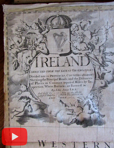 Ireland 1712 John Senex huge old wall map Law #55 rare decorative British Isles