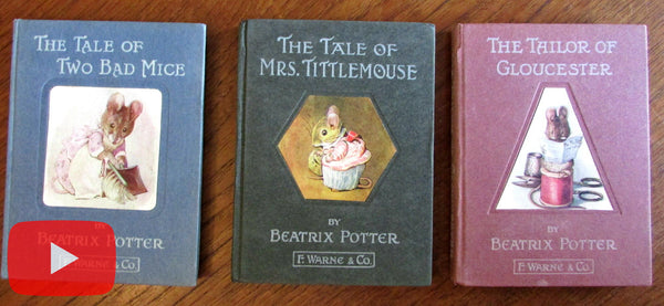 Beatrix Potter x 3 early books Two Bad Mice Mrs. Tittlemouse Tailor Gloucester