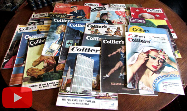 Colliers WW II lot x 20 great advertising covers art photos 1940's era