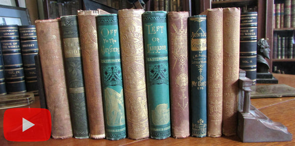 Old Children's Books 19th century collection x 10 illustrated gilt cloth Alcott Reid