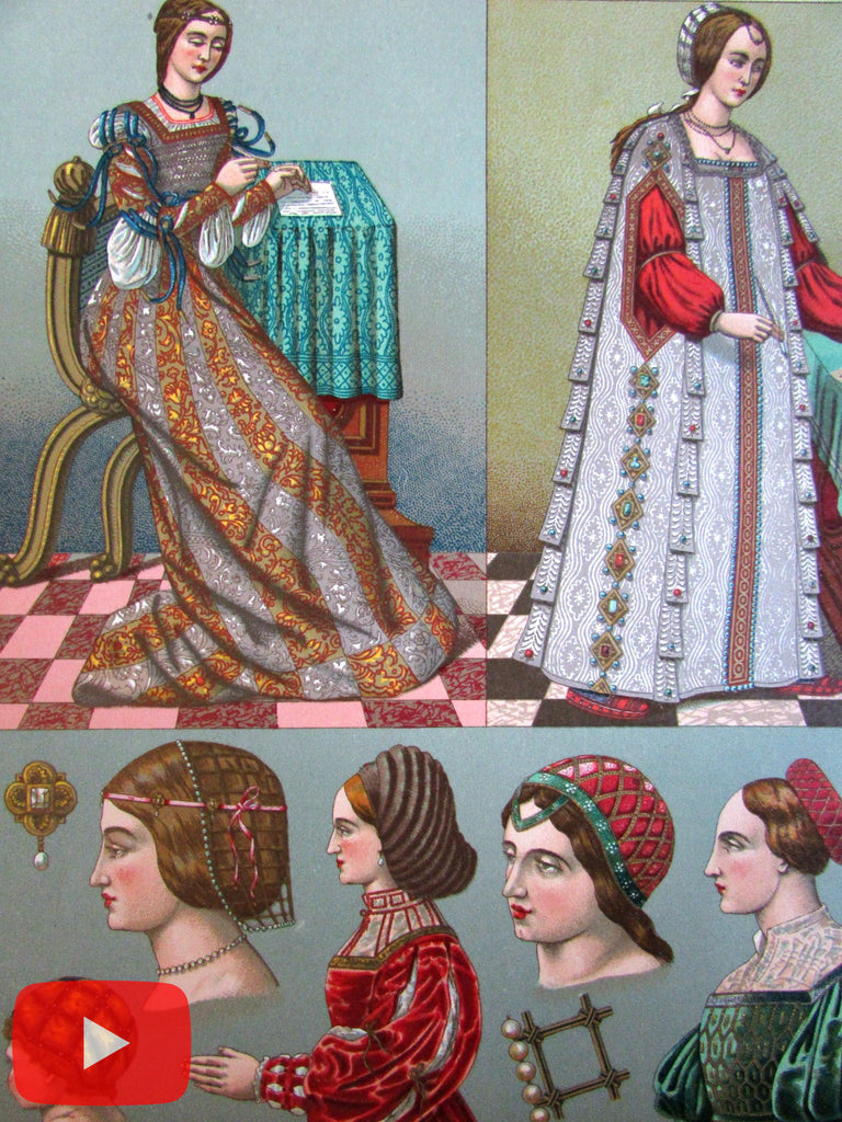 Racinet 1880's beautiful lot x 10 fashion clothing dress nice costume prints