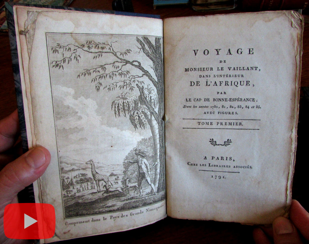 South Africa Cape Town 1791 Le Vaillant 2 v rare set old books w/ 11 printed views