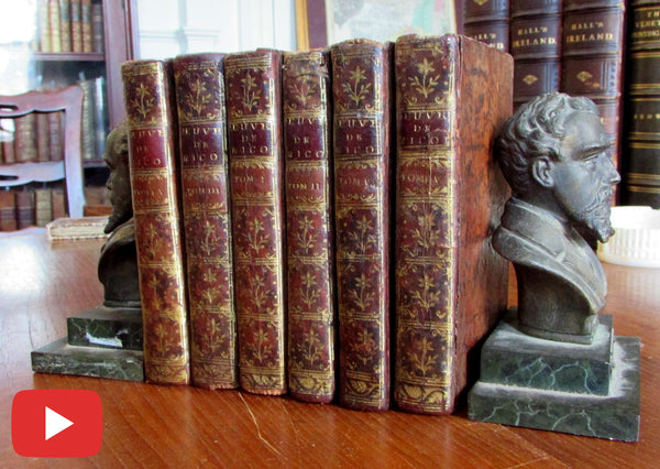 Leather Bindings 1755 set 6 vols France M. Nicole Religion