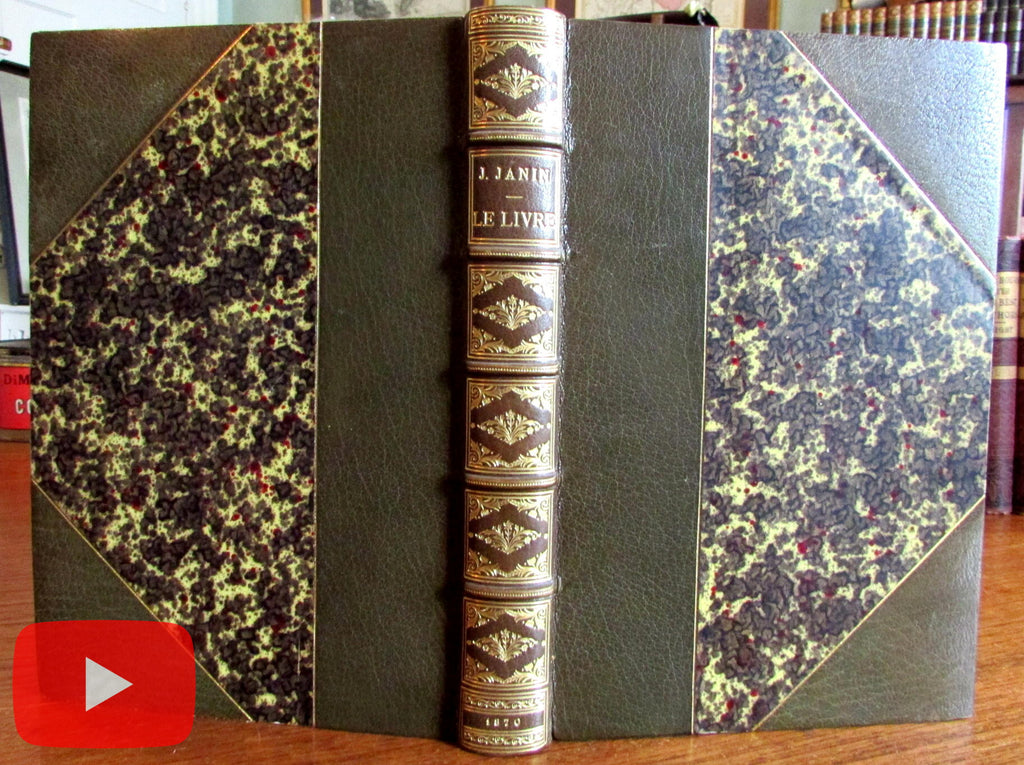 Jules Janin Le Livre 1870 beautiful old leather book author inscribed w/ letter