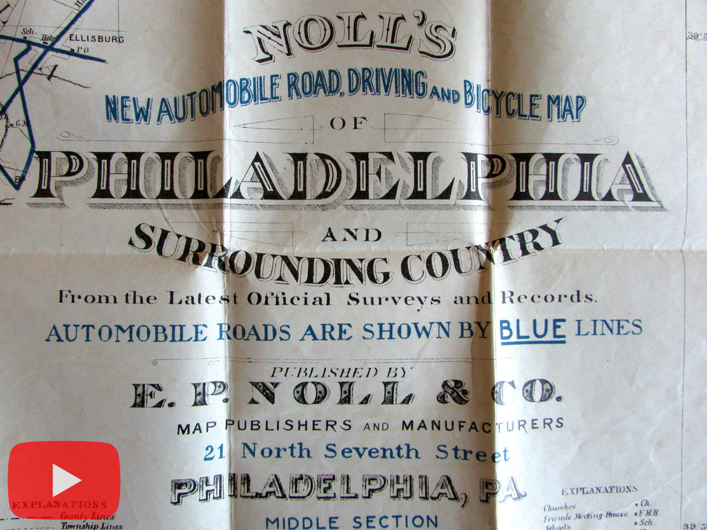 Philadelphia PA c.1908 Noll's huge pocket map bicycles automobiles roads