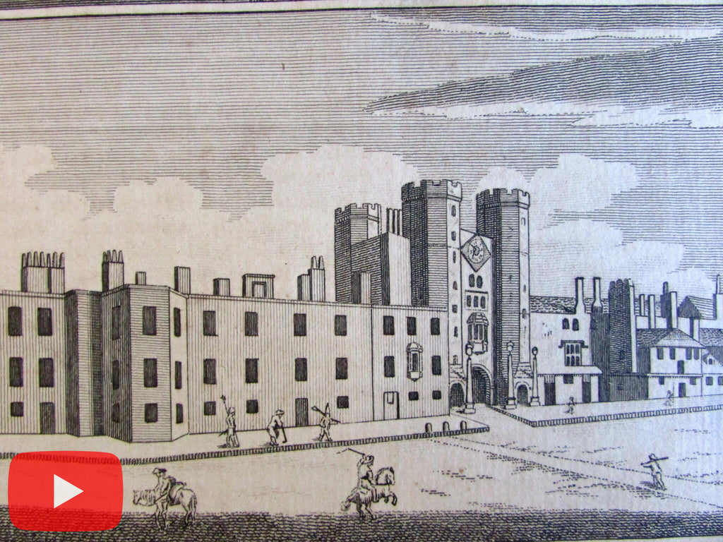 London England architecture prints views c.1780's lot x 7 old prints buildings