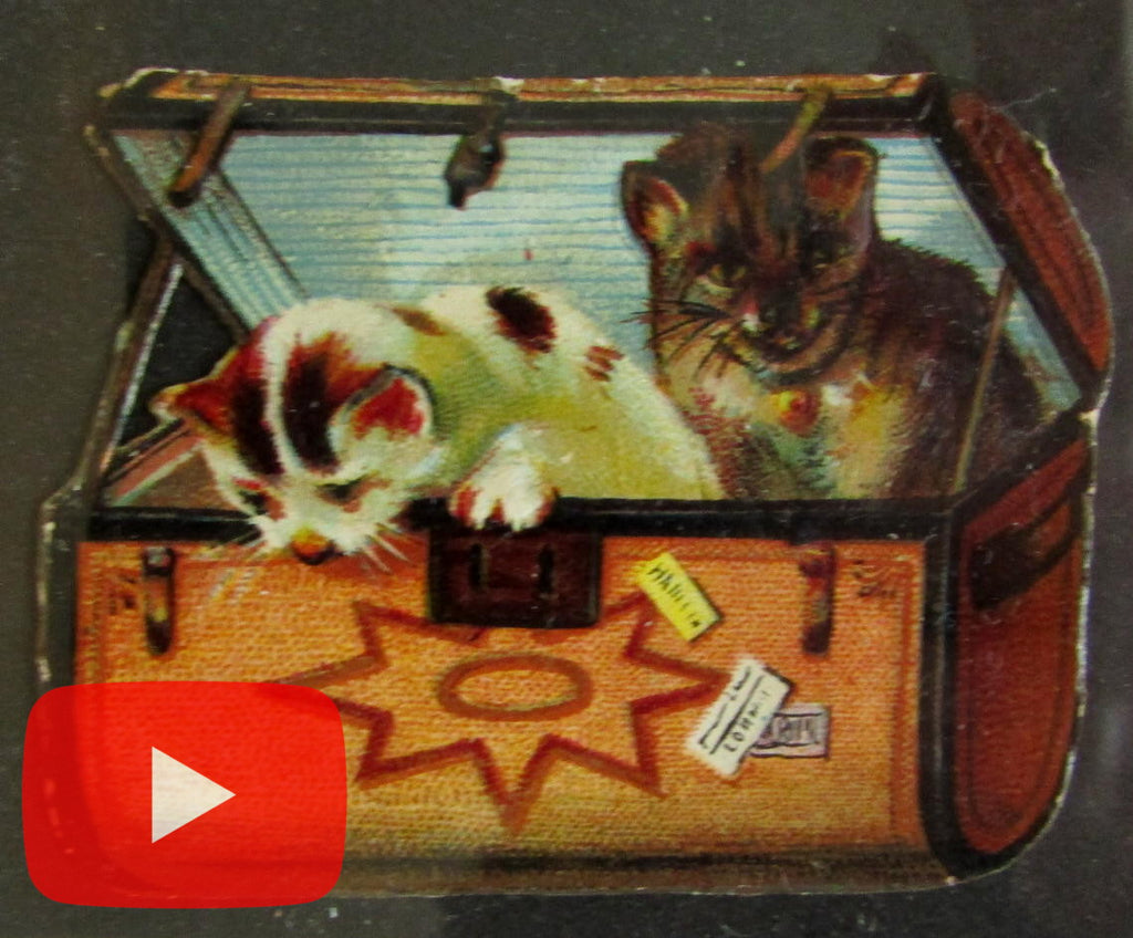 Cats c.1890-1920 themed collection 50+ old poster stamps & color die-cuts