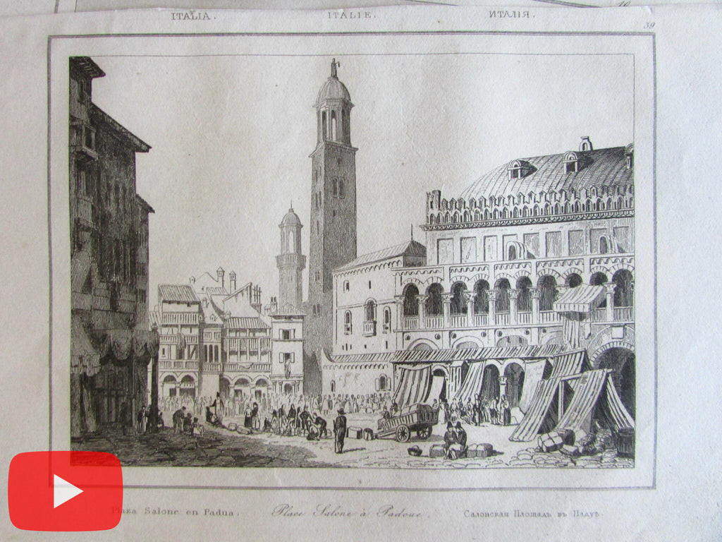 Italy Italia c. 1840 Large lot x 25 old engraved prints views Venice Florence