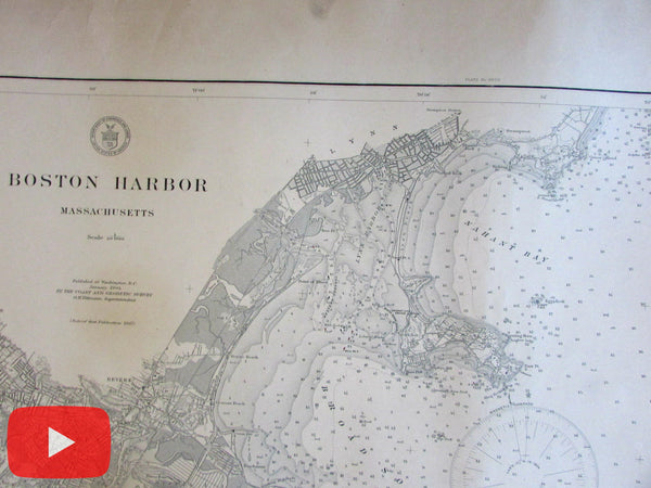 Boston MA 1904 Nautical coast chart USCGS heavy paper old map huge
