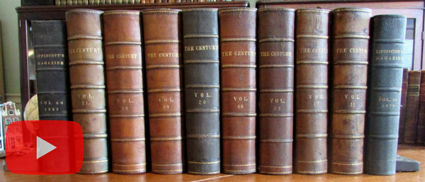 Old bound periodicals Century 1886-1901 massive run x 10 leather old books ads