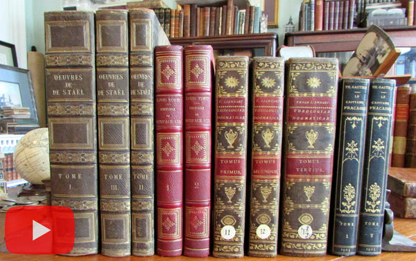 Leather books European c.1819-1903 lot x 10 beautiful decorative bindings
