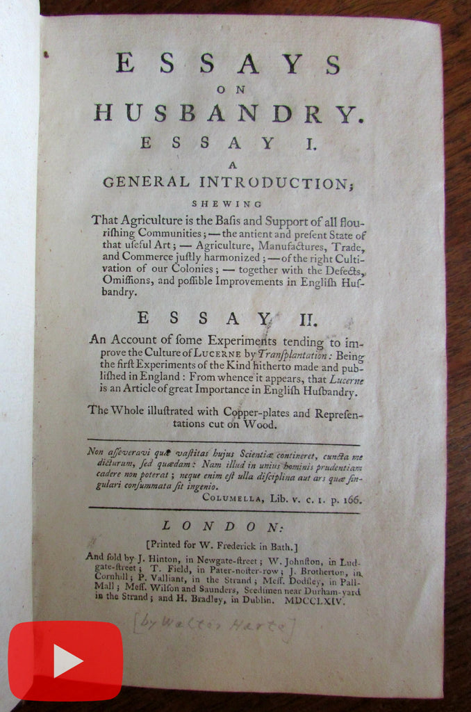 Farming Husbandry 1764 Harte old illustrated book period leather binding