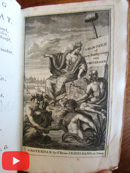 Amsterdam Netherlands 1737 rare guide book w/ 28 views city map Ij view Dapper