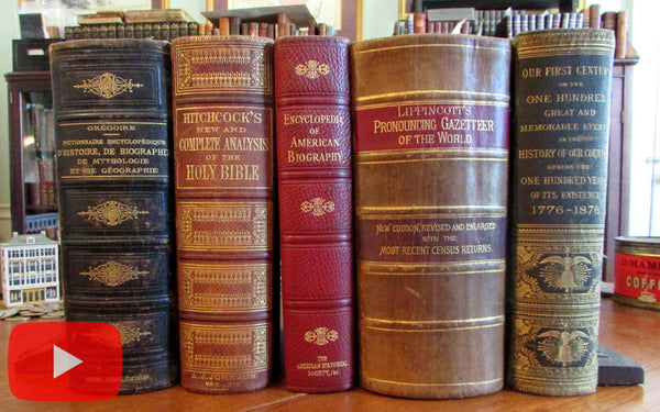 Monumental Reference Books 1873-1933 Lot x 5 huge leather bindings illustrated