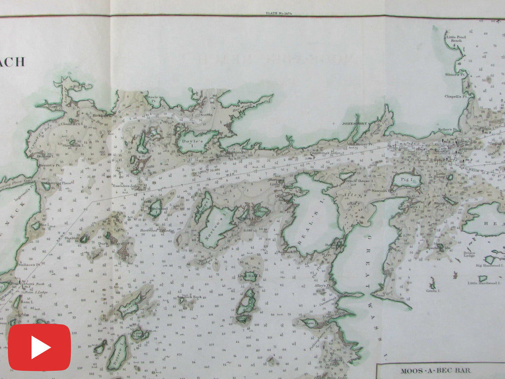 Moos-A-Bec maine coast 1879 Nautical chart old map colored ... on maine school districts map, acadia maine map, blue hill maine map, midcoast maine map, state of maine map, maine bay map, gorham maine street map, maine western map, maine woods map, maine storm map, maine east map, camden maine map, maine harbor map, maine oregon map, maine desert map, maine north map, new orleans map, maine mall portland maine map, maine map with latitude and longitude, bar harbor map,
