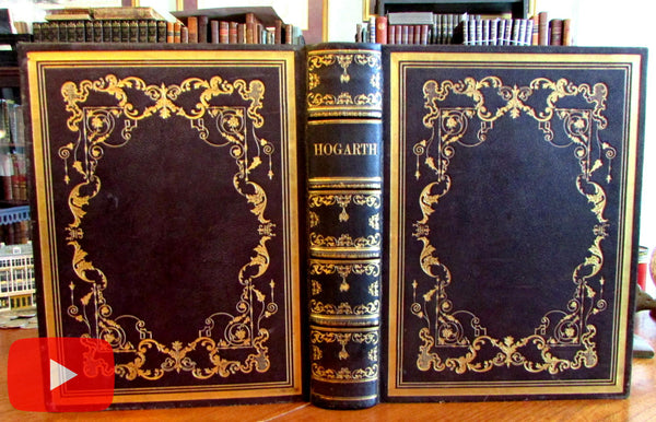 William Hogarth c.1850-gorgeous leather bound book w/ 150 engravings A+
