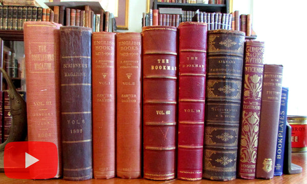 Books about Books Lit collection x 10 old decorative bindings leather illustrated