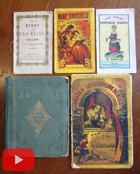 Juvenile books McLoughlin Burgess c.1850-60's era childrens lot x 5 hand colored
