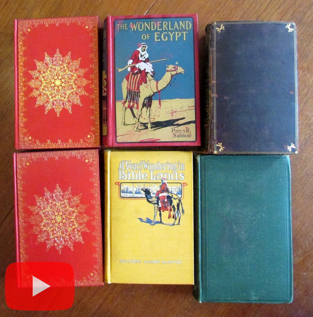 Travel lot x 6 old books India Holy Land Egypt Constantinople maps plates decorative