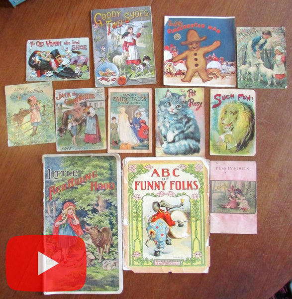 Old Childrens Books c.1880's-1910 lot x 12 Nursery Rhyme chromolitho color