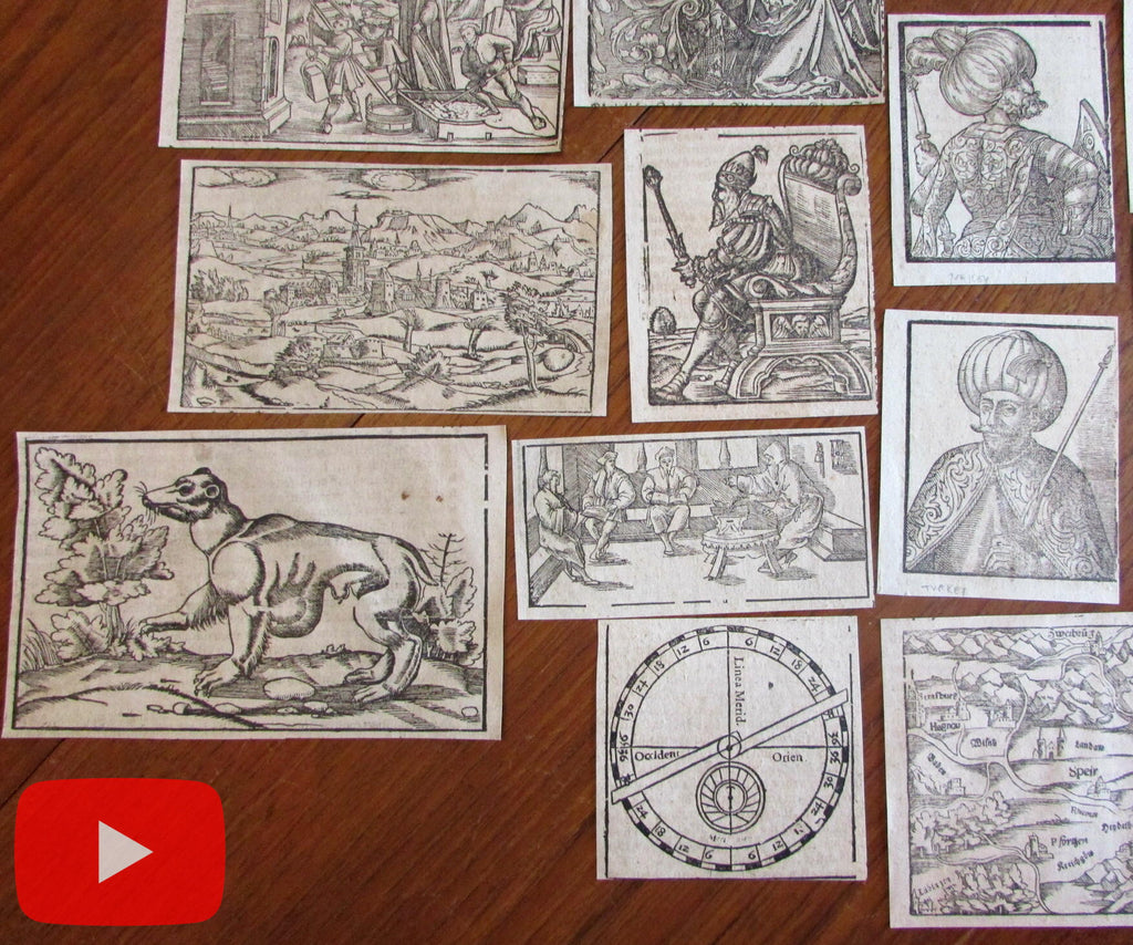 Woodcuts 1550-1590's lot x 15 Munster Cosmographia cities rulers book