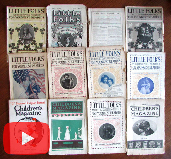 Children's Magazines 1903-1908 Illustrated Little Folks advertising lot x 12 issues