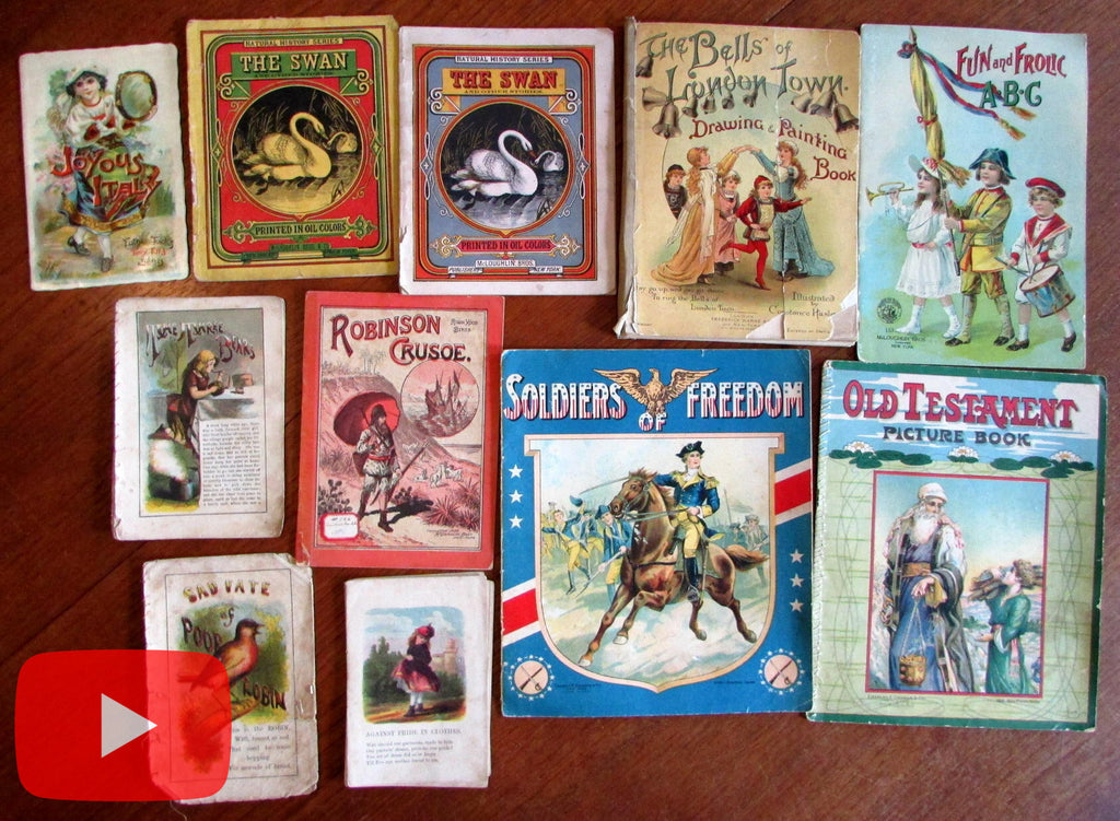 Children's Books 1870's-1910 era colorful lot x 10 old picture story Italy Crusoe