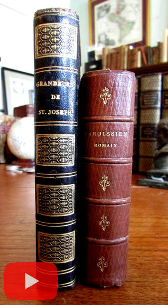 Leather bindings beautiful pair 2 old books 1864-72 hand color plates gilt patterns